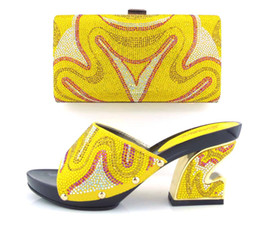 Wholesale VIVILACE TH16 yellow fashion shoes and bag set best price in stock african shoes and matching bag