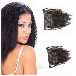 Clip in Human Hair Extensions,8-26inch natural black Top-up afro kinky Brazilian Clip-on Hair Weaves, G-EASY hair products