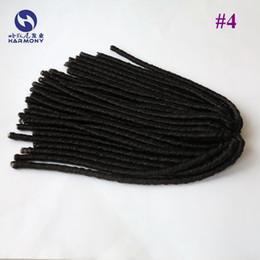 Descuento rastas tejen Más barato Brown # 4 sintética miedo bloquea las extensiones de cabello tejer afro ganchillo trenzado torcedura Dreadlocks pelo