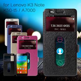 Case gros-Pour Lenovo K 3 Note K50 T5 Case Silk Texture Dual View Window couverture en cuir pour Lenovo K3 Remarque K50-t5 / A 7000 Teana supplier dual t5 à partir de double t5 fournisseurs