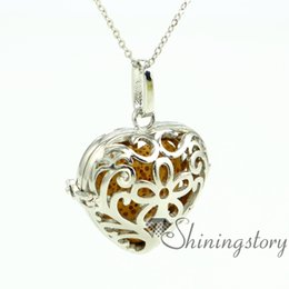 heart openwork diffuser necklace diffuser pendants wholesale diffuser necklaces essential oil pendant metal volcanic stone