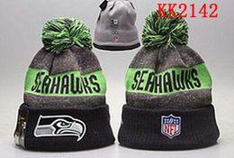 Wholesale Seattle Beanies Sports Teams Seahawks Hats women men Cool Winter Fashion Skull Caps with Pom Cheap Pom Pom Beanie Hats for Sale