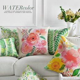 Wholesale 45cm Fashion American pastoral Pink flowers Cotton Linen Fabric Waist Pillow inch Hot Sale New Home Decorative Sofa Car Back Cushion