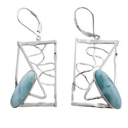 Larimar earrings by American designer for party&Evening for women gemstone oval shaped sterling silver 925 for E8034L