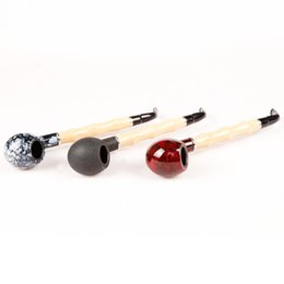 1 Pc Bamboo Rod Style Wood Color Metal & Acrylic Smoking Pipe with Black Gift Box ZJ702 Red Black Somky-grey