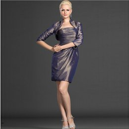 Latest Strapless Elegant Mother's Dress Above Knee Length Dress Modern Design With 3 4 Sleeve Jacket Good Quality 2016 Collection