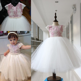 Wholesale Lovely Pearls Beaded Ball Gown Baby Girl Party Dresses Kids First Communion Gowns Formal Prom Dresses For Wedding Real Image