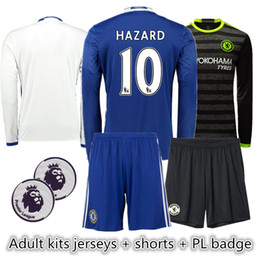 Wholesale Cheap Adult kits jerseys with shorts and PL badge Chelsea long sleeve soccer jerseys HAZARD et