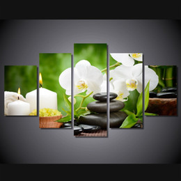 Wholesale 5 Panel HD Printed Orchids stone candle Painting Canvas Print room decor print poster picture canvas pink flowers on canvas