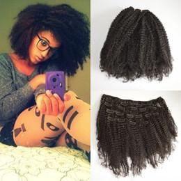 Descuento extensión del pelo humano clip de la cabeza llena Clip de afroamericanos en la extensión de cabello humano Cabezal de cabezas de cabeza mongol afro Kinky Clip de cabello rizado mujeres negras G-EASY