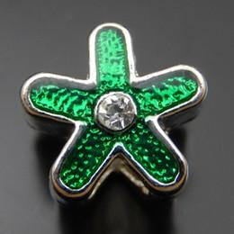 8PCS Antique Silver Star Alloy Green Rhinestone Pendant Charm Jewelry Making 12mm 39758 jewelry making
