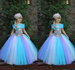 Beautiful Princess Girls Pageant Dresses Off-the Shoulder Butterfly Appliques Flower Girls Dresses For Weddings Ball Gown Kids Party Dress