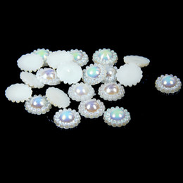 12mm 100pcs Sunflower Half Round Pearls #01-#08 AB Colors Imitation Glue On Resin Beads Appliques For Wedding Dress Decoration