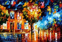 Ville peintures à l'huile de paysage en Ligne-Paysage peintures à l'huile sur toile, ville de lune, reproduction de Leonid Afremov peinte à la main