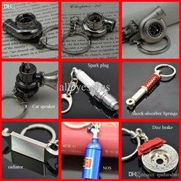 Wholesale Hot sale Turbo Shock Absorber radiator disc brake pill case spark plug car speaker Keychain Key Chain Ring Key Fob Keyring