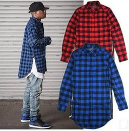 Red Blue Grey Green Scottish Plaid Long Sleeve Flannel shirt Men  Dance Bboy Shirt Golden Side Zipper  Oversize Plaid Lengthen Shirt Man