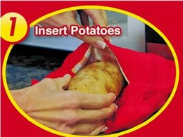 Wholesale Christmas Dinner Potato Cooking Bag Red Washable Baked Potato Microwave Cooking Quick Baking cooking tools with Retail Boxes