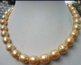 Wholesale stunning 12- 13mm round south sea gold pearl necklace 18 inch 14k gold clasp