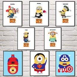 Wholesale Animated Movie Despicable Me Minions Carl Phil Tim Kevin Stuart Art Silk Poster Home Wall Decor Paintings Unframed X32 Inch