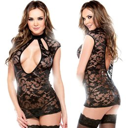 Wholesale Newest Ladies Black Lace Nightie Embroidery Slips Beautiful Jacquard Open Bust Back Hollow Out Nightdress Lingerie Camisola MXL