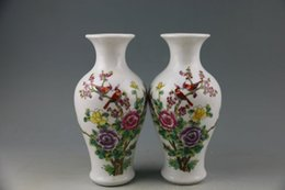 Wholesale Republic of China a pair of powder enamel porcelain bottle antique ancient porcelain old porcelain goods collection