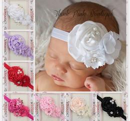 Acheter en ligne Fille accessoires pour cheveux clips-Bébé Bandeaux Bébé Chapeaux Enfants Fleur Perle Infant Toddler Fille Bandeau Clips Hairband Hair Band Accessoires 10pcs