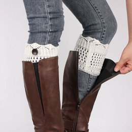 New Leg Warmers Six Colors short crown edge hollow hole boot cuff knitting socks button Socks Women