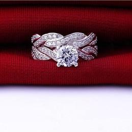 Acheter en ligne 925 ensembles de mariée-Mode Amour Simulé Diamant CZ Engagement de mariage Bnd Bague pour les femmes Sets Bijoux Argent 925 nuptiale