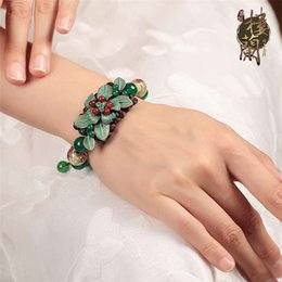 Wholesale Loulan green leaves the Chinese knot adornment inn national wind restoring ancient ways bracelets wide coloured glaze agate string of female