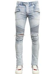 Wholesale Men Brand Paris Runway Stretch Jeans Washed Acid Light Blue Biker Jeans Men Plus Size