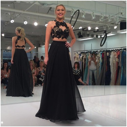 Fashion Black Two Pieces Dresses Evening Wear Lace Appliques Draped Chiffon Backless Celebrity Red Carpet Runway Prom Dress Custom Made