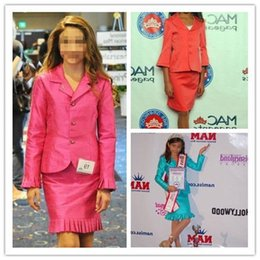 Wholesale Suit Jacket Length Chart - 2016 Fashion Custom Made Girls Pageant Interview Suits Dresses With Long Sleeve Jacket Knee Length For Junior Teens