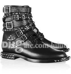 Wholesale Women Rivets Brand Genuine Leather Motorcycle Boots Lace Up Biker Buckle Strap Soft Leather Famous Designer Winter Short Boots