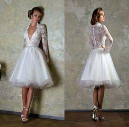 Lace Little White Long Sleeve Wedding Dresses 2017 Deep v Neck Short Bridal Gowns A Line Tiered Knee Length Wedding Dresses
