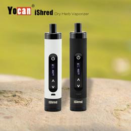 Wholesale 100 Véritable Yocan iShred sec Herb Vaporisateur Kits E Cigarette Kits mAh batterie avec écran intégré LCD Herb Grinder Noir Blanc
