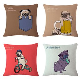 Wholesale 8 Styles Cute Lovely Pug Dogs Cushion Covers Call Me Pugly Dog English Letters Pillowcase Decorative Sofa Linen Cotton Pillow Cover Gift