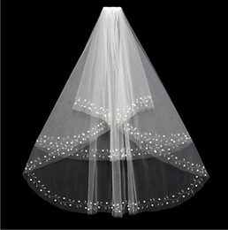 Wholesale New Fashion White Ivory Short Two Layers With Comb Bridal Veils Wedding Accessories Beaded Edge Pearls Hair Accessory