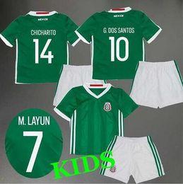 Wholesale Mexico kids jersey CHICHARITO home green G DOS SANTOS O PERALTA JIMENEZ R MARQUEZ top quality Mexico children Soccer football shirt