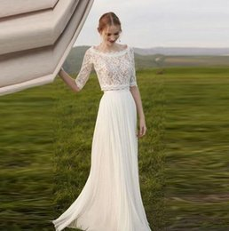 Beach Garden Two Piece Lace Wedding Dresses Half Long Sleeve Scoop Neckline Wedding Gown Chiffon robe de mariage Bohemian Bridal Dresses