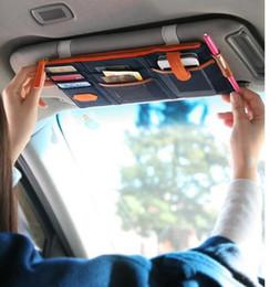 Promotion couleur de titulaire de la carte 3 Couleur voiture pare-soleil Point de stockage Documents de poche Organizer Sac Carte Pouch titulaire de la carte de crédit Namecard stylo