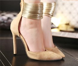 New suede color hollow 11cm ultra fine with thin buckle pointed high-heeled shoes women's singles Free Shipping