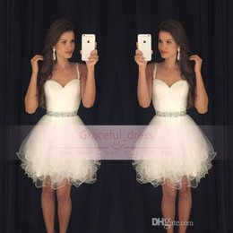 2016 Little White Short Homecoming Dresses Modern Spaghetti Straps Backless Beaded Mini A Line Party Sweet Sixteen Graduation Gown BA080