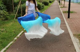 2016 sales of 100% high-quality silk handmade silk veil belly dance fan,blue turquoise white 180 * 90 cm one pair of dress