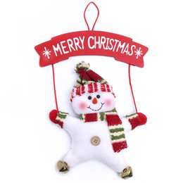 2016 Christmas star bell pendant Santa Claus and Christmas Snowman cotton doll 27cm high lovely Christmas decorations