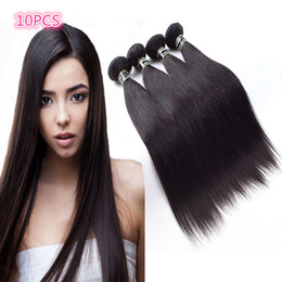 Wholesale 10PCS Lot Brazilian Virgin Hair Brazilian Straight Human Hair Weaves Top Quality Brazilian Virgin Hair 1b