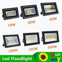 Wholesale Led Street Projector Lights - Waterproof LED Flood Light 200W 150W 100W 60W 30W 15W Reflector Floodlight Spotlight Street Outdoor Wall Lamp Garden Projectors