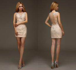 Wholesale 2016 Real Sexy Lace Appliques Short Sheath Fitted Homecoming Dresses Sleeveless High School Beaded Custom Made Homecoming Gowns HY1441