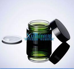 50g green glass cream jar with black aluminum lid, 50 gram cosmetic jar,packing for sample eye cream,50g bottle
