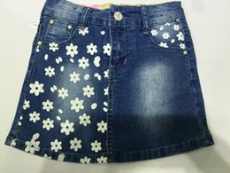 Wholesale New Girls Skirts Jeans Skirts Above Knee Age T T Sizes Flowers Printed Blue Washed Elastic Jeans Skirts