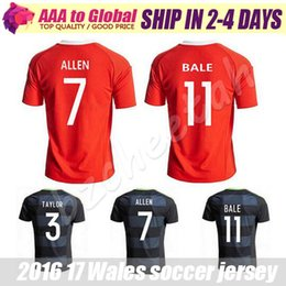 Wholesale Top quality Wales Home red Soccer jersey Wales away black GARETH BALE AARON RAMSEY Football shirt